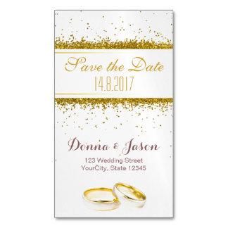 Salvar os anéis do brilho do ouro da data - cartão cartão de visitas magnético