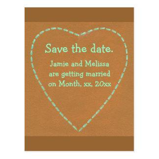 Salvar os cartão do casamento da data, coração de