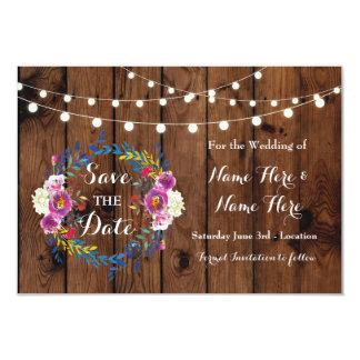 Salvar os cartões florais de madeira da festa de
