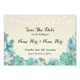 Salvar os Succulents rústicos da data as luzes da Convite 8.89 X 12.7cm