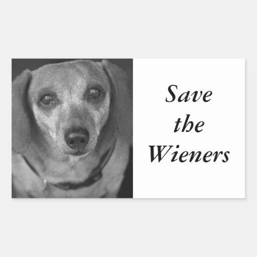 Salvar os Wieners Adesivo Em Forma Retangular