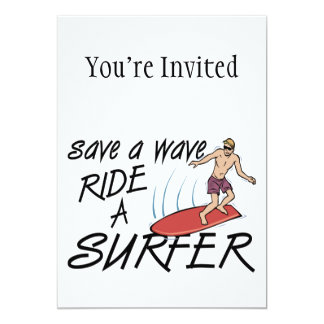 Salvar um passeio da onda um surfista convite 12.7 x 17.78cm