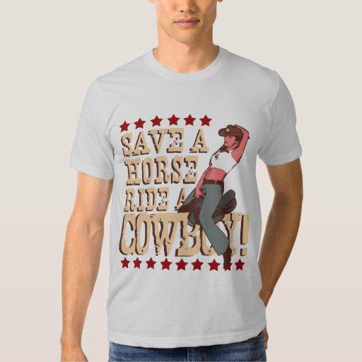 Salvar um passeio do cavalo um vaqueiro camiseta