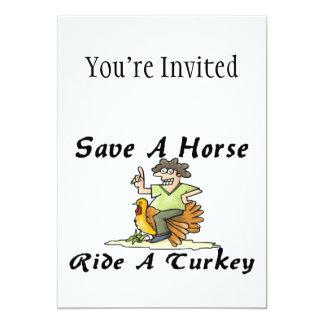 Salvar um passeio do cavalo uma Turquia Convite 12.7 X 17.78cm