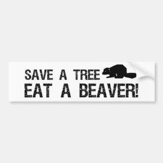 Salvar uma árvore, coma um castor adesivo para carro