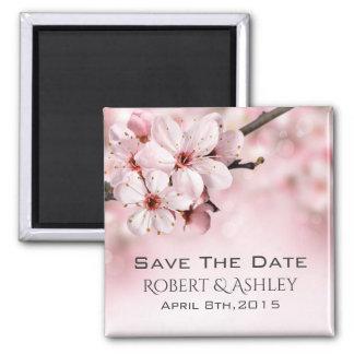Salvar Wedding da data floral Ímã Quadrado