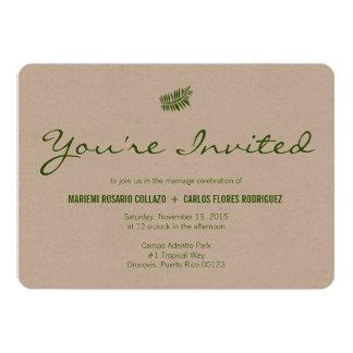 Samambaia verde tropical minimalista convite 12.7 x 17.78cm