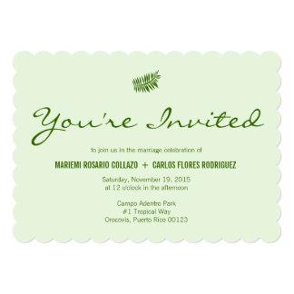 Samambaia verde tropical simples convite 12.7 x 17.78cm