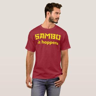 SAMBO - acontece texto amarelo da camisa do