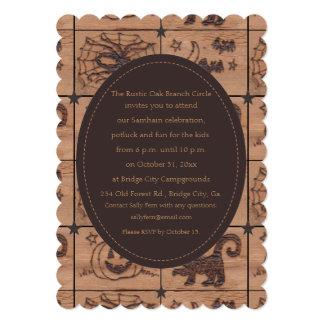 Samhain Prim remenda Woodburned retro Convites Personalizado