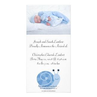 """SammieSnail 8"""" x 4"""" anúncio do nascimento dos Cartão Com Foto"""