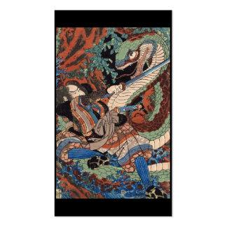 Samurai C. de pintura japonês 1800's Modelos Cartão De Visita