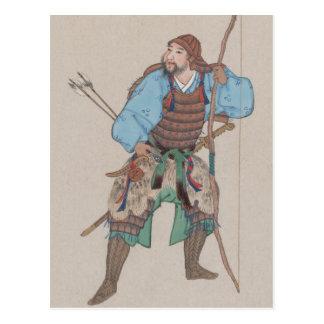 Samurai com o cartão do arco e da espada