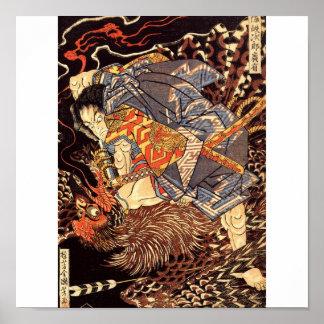 Samurai que mata Tengu/pintura do pássaro, C. 1800 Pôster