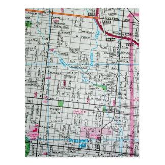 SAN ANTONIO, cartão do mapa do vintage de TX