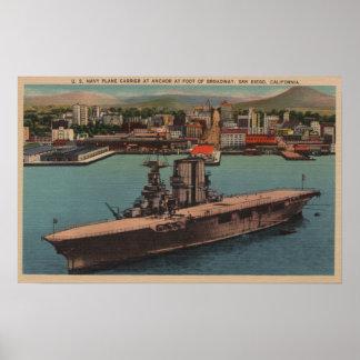 San Diego, CA - porta-aviões de marinho de E.U. da Poster