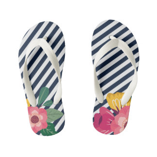 Sandálias florais listradas