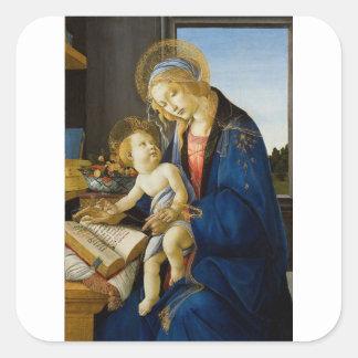 Sandro Botticelli - o Virgin e a criança Adesivo Quadrado