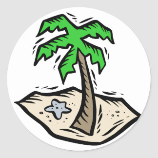 Sandy Beach da palmeira Adesivo