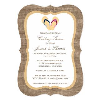 Sandy Beach do flip-flop no chá de casamento de Convite 12.7 X 17.78cm