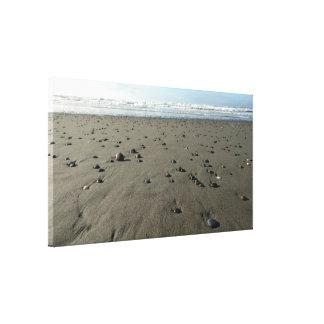Sandy Beach rochoso impressão esticado das canvas