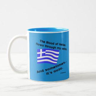 Sangue grego de Hélade da bandeira e azul dos Caneca De Café Em Dois Tons