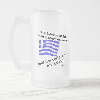 Sangue grego e Ouzo de Hélade da bandeira Caneca De Cerveja Vidro Jateado
