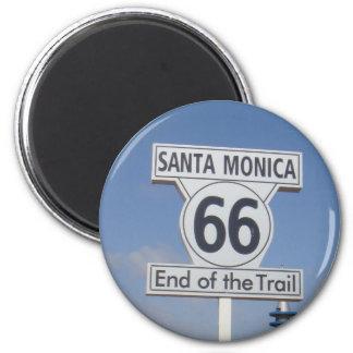 Santa Monica, Califórnia - RT 66 Ímã Redondo 5.08cm