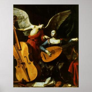 Santo Cecilia e o anjo por Carlo Saraceni Pôster