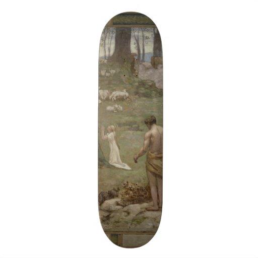 Santo Genevieve como a criança na oração por Puvis Skates
