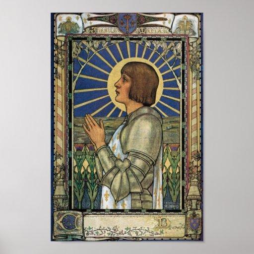 Santo Joana da imagem do vitral do arco Posters