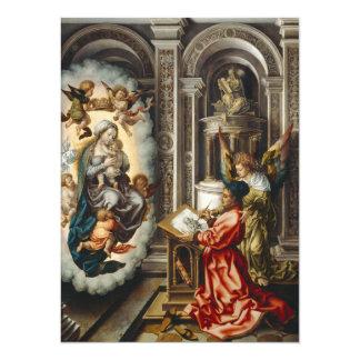 Santo que pinta Mary e bebê Jesus Convite 13.97 X 19.05cm