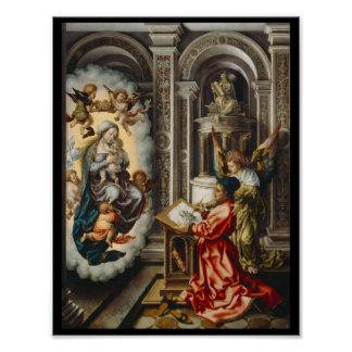 Santo que pinta Mary e bebê Jesus Pôster