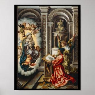 Santo que pinta Mary e bebê Jesus Poster