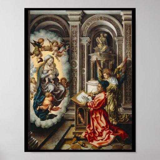 Santo que pinta Mary e bebê Jesus Impressão