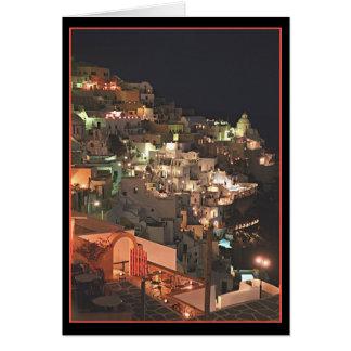 Santorini em a noite   (vazio para dentro) cartão comemorativo
