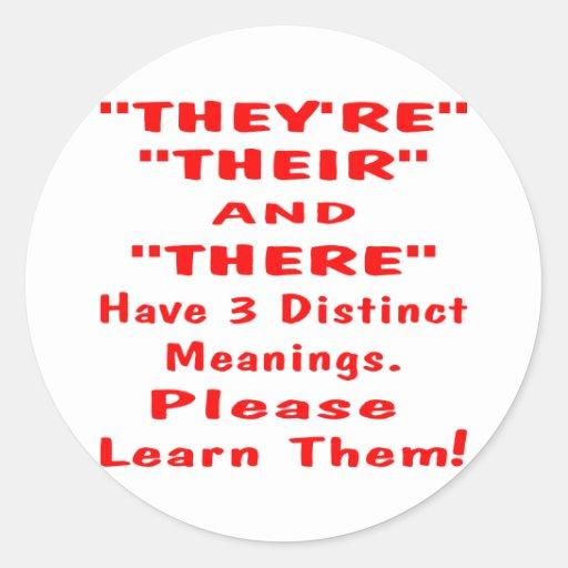 São, seu, e significa 3 coisas diferentes adesivo em formato redondo