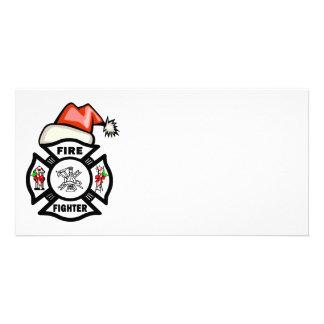 Sapador-bombeiro do papai noel cartões com foto personalizados