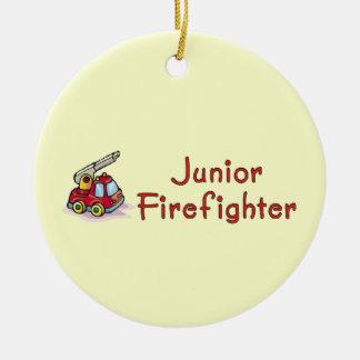 Sapador-bombeiro júnior ornamento de cerâmica