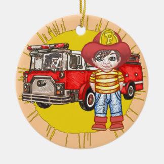 Sapador-bombeiro pequeno ornamento de cerâmica