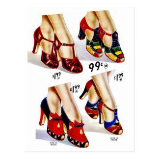 Sapatos femininos retros da forma 40s do kitsch do cartão postal