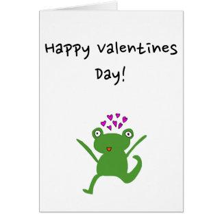Sapo com cartão dos corações