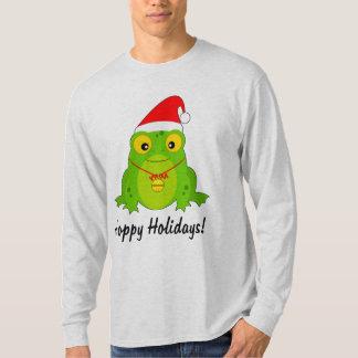 Sapo com feriados Hoppy do chapéu do papai noel Camiseta