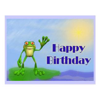 Sapo do feliz aniversario cartão postal
