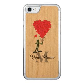 Sapo e monograma vermelho do coração capa iPhone 7 carved