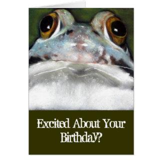 Sapo engraçado, cartão de aniversário: Arte