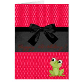 Sapo feminino bonito em bolinhas vermelhas, cartão