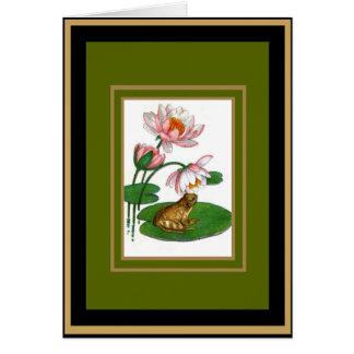 Sapo floral do Água-Lírio do cartão do vintage