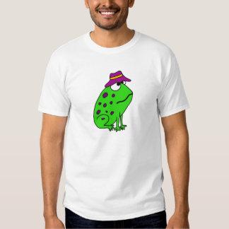 Sapo Funky em desenhos animados do chapéu da pesca Tshirts