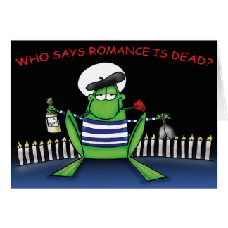 Sapo romântico cartão comemorativo